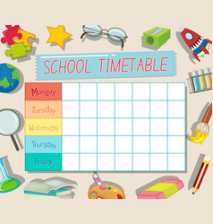 gf ii backtoschool timetable 03 vector image