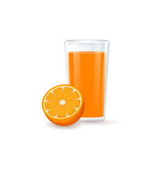 Glass with fruit orange juice vector