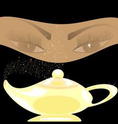 Golden oriental lamp vector