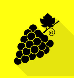 grapes sign black icon with flat vector image