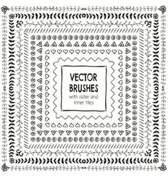 Hand drawn black pattern brushes borders vector