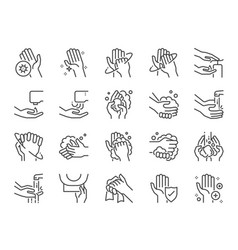 Hand washing line icon set vector