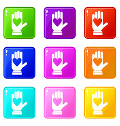hand with heart set 9 vector image