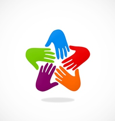 Hands circle teamwork logo vector