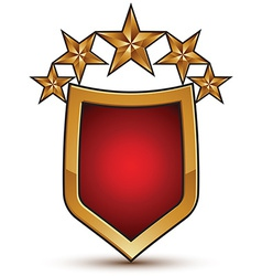 Heraldic template with five glossy golden stars vector
