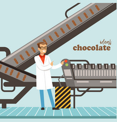 hocolate factory production line male controller vector image