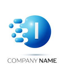I letter splash logo blue dots and circle bubble vector