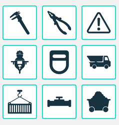 Industry icons set with man with drill calipers vector