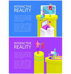 interactive reality man set vector image