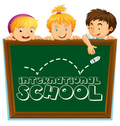 International school sign with three kids vector