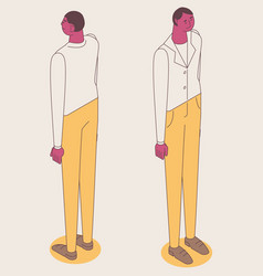 isometric full color outline man standing vector image