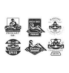karting competition premium retro labels set vector image