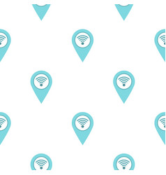 Light blue map pointer with wi fi symbol pattern vector