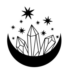 magic black moon with stars and crystals on white vector image