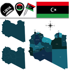 Map libya with named districts vector