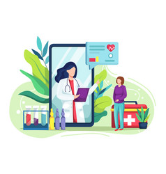 Medical consultation internet with doctor vector