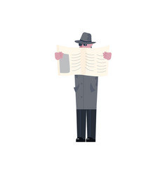 Mysterious man hides the face behind the newspaper vector