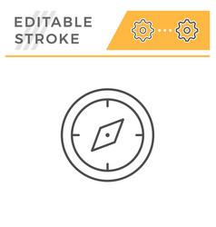 navigation compass editable stroke line icon vector image