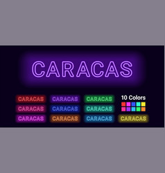 Neon name of caracas city vector