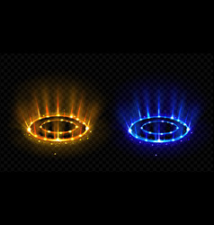 neon versus round rays hologram effect vs circles vector image