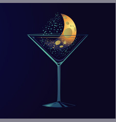 nigth party poster with cocktail moon in a glass vector image