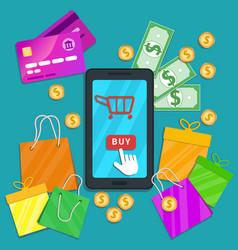 Online shopping e-commerce concept flat vector