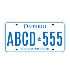 Ontario canada car license plate registration vector