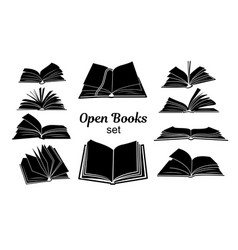 Open book black silhouettes set vector