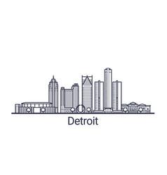 Outline detroit banner vector