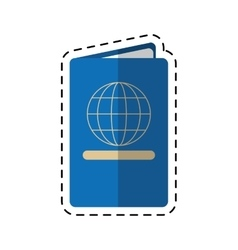 Passport identication document travel cutting line vector
