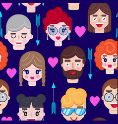 pattern with boys and girls faces vector image