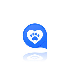 Paw and heart pet related logo vector