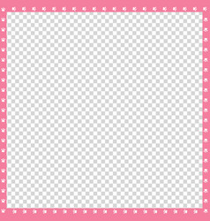 pink and white square border made of animal paws vector image