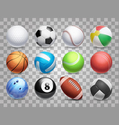 realistic sports balls big set isolated vector image