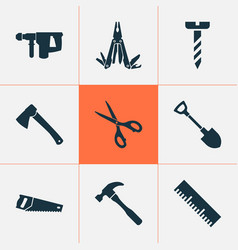 Repair icons set with screw handsaw shears vector