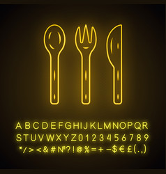 Reusable bamboo cutlery set neon light icon vector