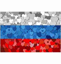 russian flag made of hearts background vector image