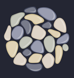 sea pebbles are located in a circle abstract vector image