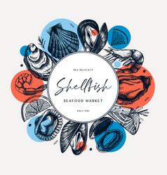 Seafood trendy collage design shellfish frame vector