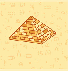 seamless pattern pyramid and egyptian hieroglyphs vector image