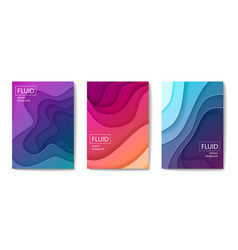 set modern abstract fluid banners vector image