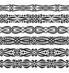 set of black seamless borders vector image