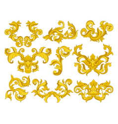 set of golden baroque ornaments luxurious vector image