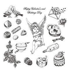 set of hand drawn vintage valentines and vector image