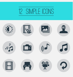 Set of simple multimedia icons vector