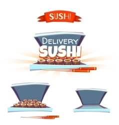 Set of sushi with box and chopstick Delivery vector image