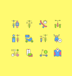 set simple line icons bike sharing vector image