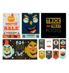 Set Trick or Treat Poster Cards and Stickers vector