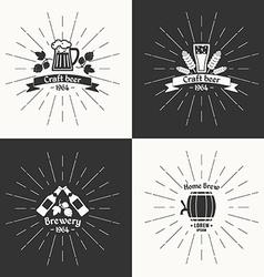 Set vintage logo beer brewery vector