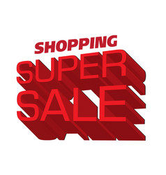 shopping super sale red text logo white background vector image